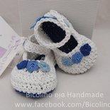 Scarpine 100 % cotone ad uncinetto ballerina blu per bambina