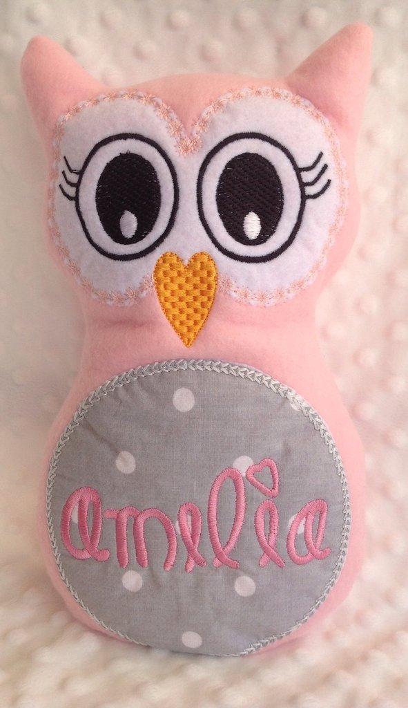 Civetta personalizzata - peluche pupazzo cuscino gufo rosa