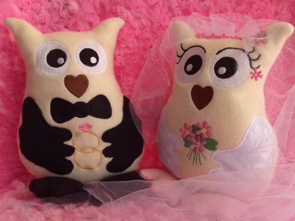 Matrimonio di Gufi - peluche pupazzo