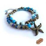 """Bracciale donna """"I colori del mare"""" braccialetto nautico stella marina bronzo"""