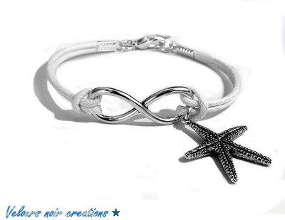 Bracciale simbolo infinito argento tibetano cordino bianco ciondolo stella marina