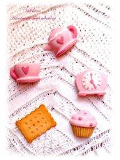 Set gessetti profumati- Formine polvere di ceramica- teiera tazzina orologio biscotto muffin
