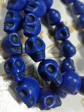 10 Mini Perline Teschi Pietra Sintetica BLU
