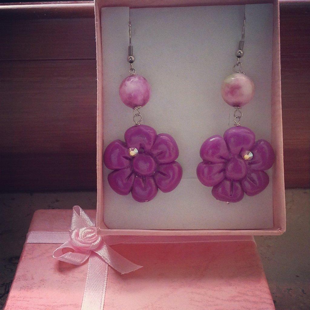 orecchini fiore rosa fucsia