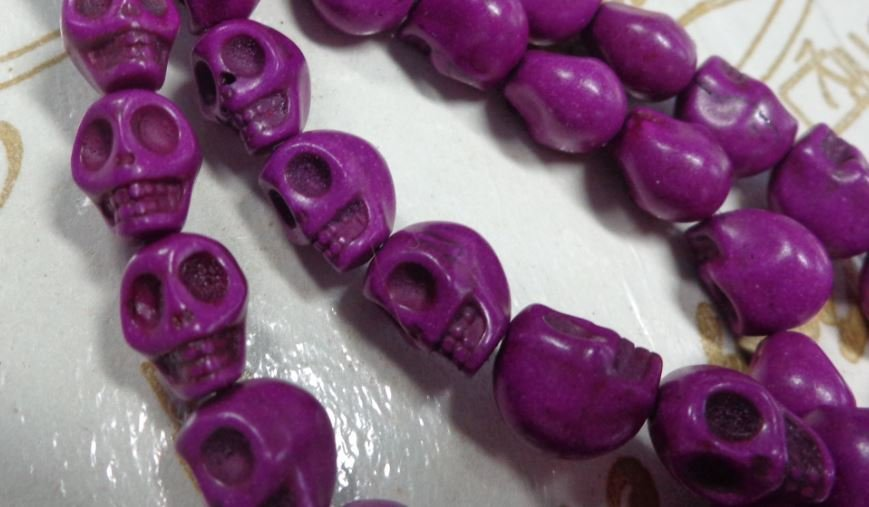 10 Mini Perline Teschi Pietra Sintetica VIOLETTO