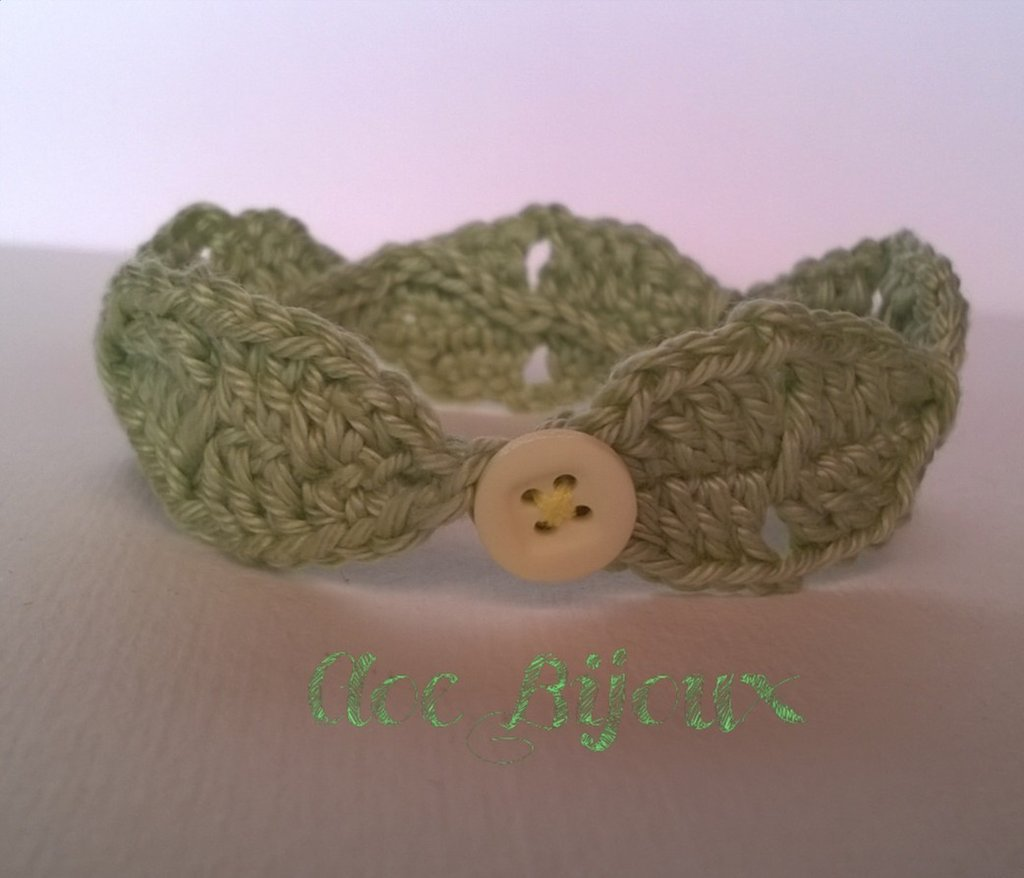 Braccialetto Crochet Foglie verde