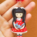 Collana Bambolina con gatto doll cat fimo clay