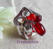Anello a fiore con linghette delle lattine e pendenti in perline  fatto a mano rosso