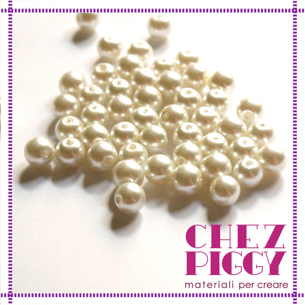 10 x perle di vetro bianche 8 mm
