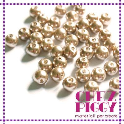 10 x perle di vetro bronzo chiaro 8 mm