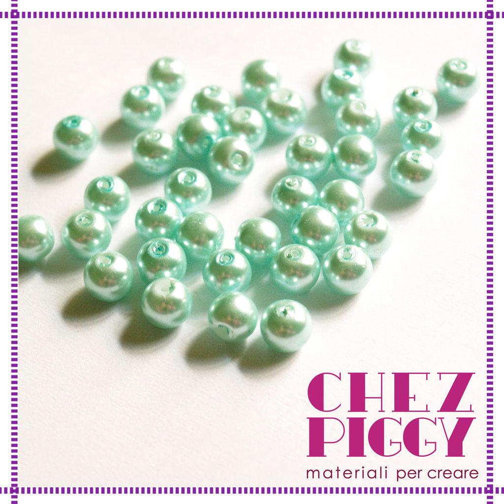 10 x perle di vetro celesti 8 mm