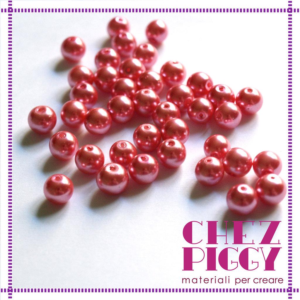 10 x perle di vetro rosso ciclamino 8 mm