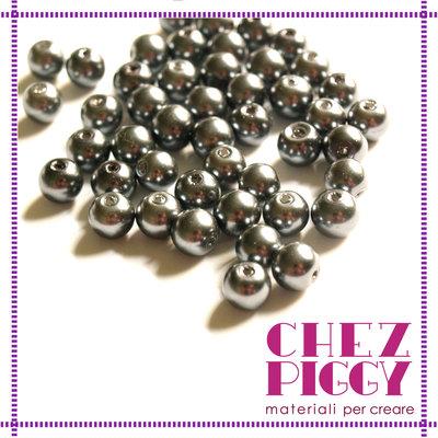 10 x perle di vetro nere - grigie 8 mm