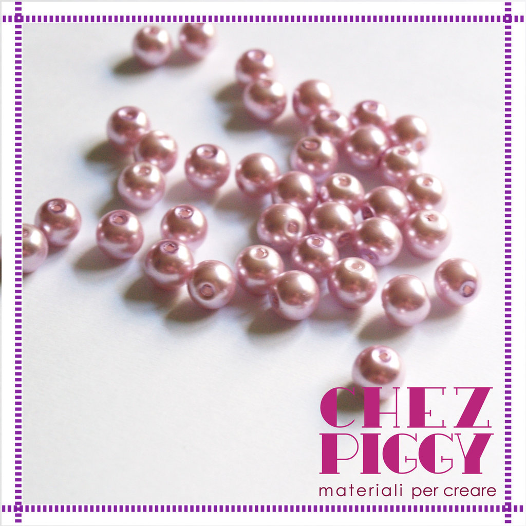 10 x perle di vetro rosa 8 mm