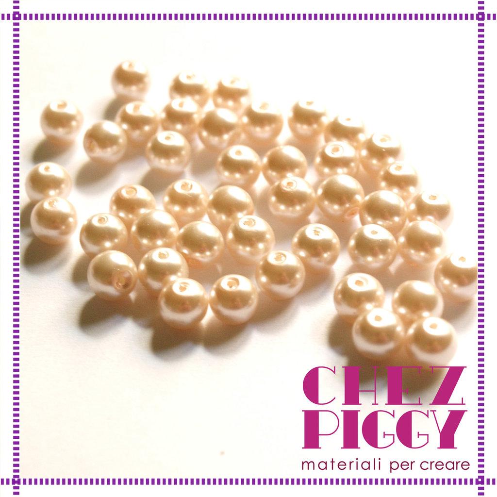 10 x perle di vetro rosa chiaro 8 mm