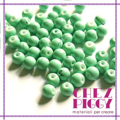 10 x perle di vetro effetto turchese 8 mm