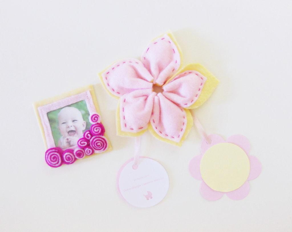 Bomboniera con cornice calamita: le bomboniere in feltro e cotone con la foto della vostra bambina