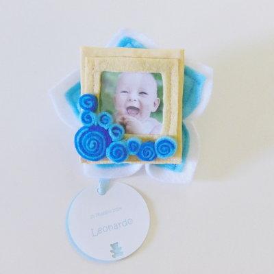 Bomboniera con cornice calamita: le bomboniere in feltro e cotone con la foto del vostro bambino