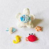 Set di 5 bomboniere in feltra a tema marino: la bomboniera dal sapore di mare per la tua sirenetta!