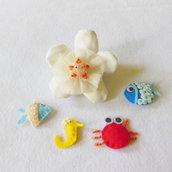 Set di 10 bomboniere in feltro a tema marino: la bomboniera dal sapore di mare per la tua sirenetta!