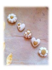 Cabochon bomboniera matrimonio coccinella quadrifoglio fiore cuore girasole- bianco-oro