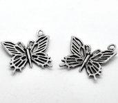 6x Charm ciondolo farfalla color argento
