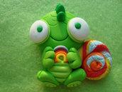 Magnete Camaleonte Verde con Arcobaleno in Fimo