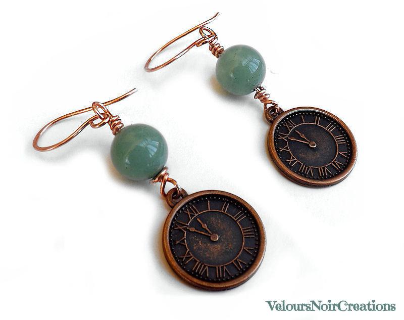 Orecchini con orologio rame e pietra avventurina steampunk