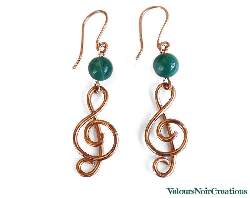 orecchini nota musicale chiave di violino in rame perla in giada creati a mano