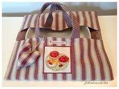 Porta torta in cotone a righe bordò con appliquè dolcetti