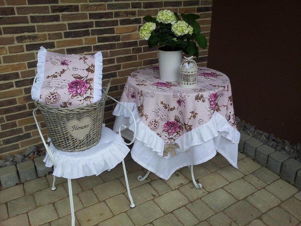 Tovaglia in lino in stile romantico per la casa e per te for Tovaglie shabby