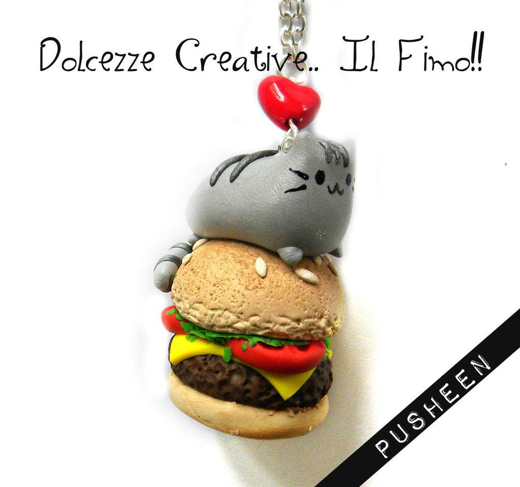 Collana Gatto Kawaii Hamburger idea regalo cute