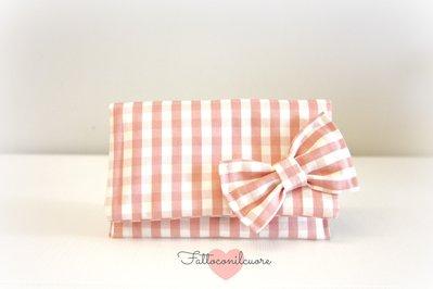 borsetta pochette in stoffa con fiocco  fatta a mano