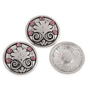 pulsante Bottone a clip fogla  strass rosa 20 mm