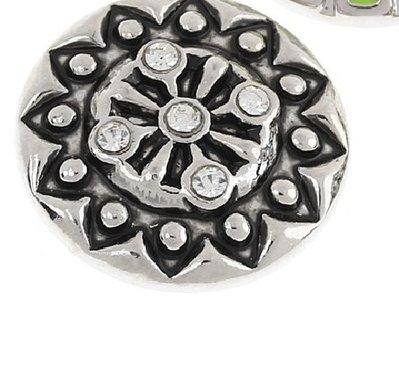 pulsante Bottone a clip intarsiato con  strassbianco 20 mm  scontato solo per oggi poi ripristino