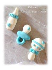 Cabochon decorazioni nascita battesimo, ciuccio, sonaglio biberon