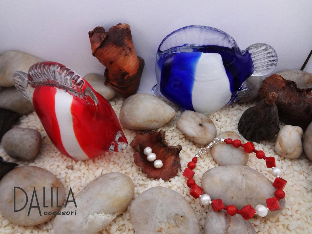 Bracciale corallo madrepora e perle naturali