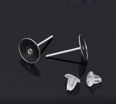 30 base (15 paia) orecchini a perno+gommini 12x8 mm. tono argento