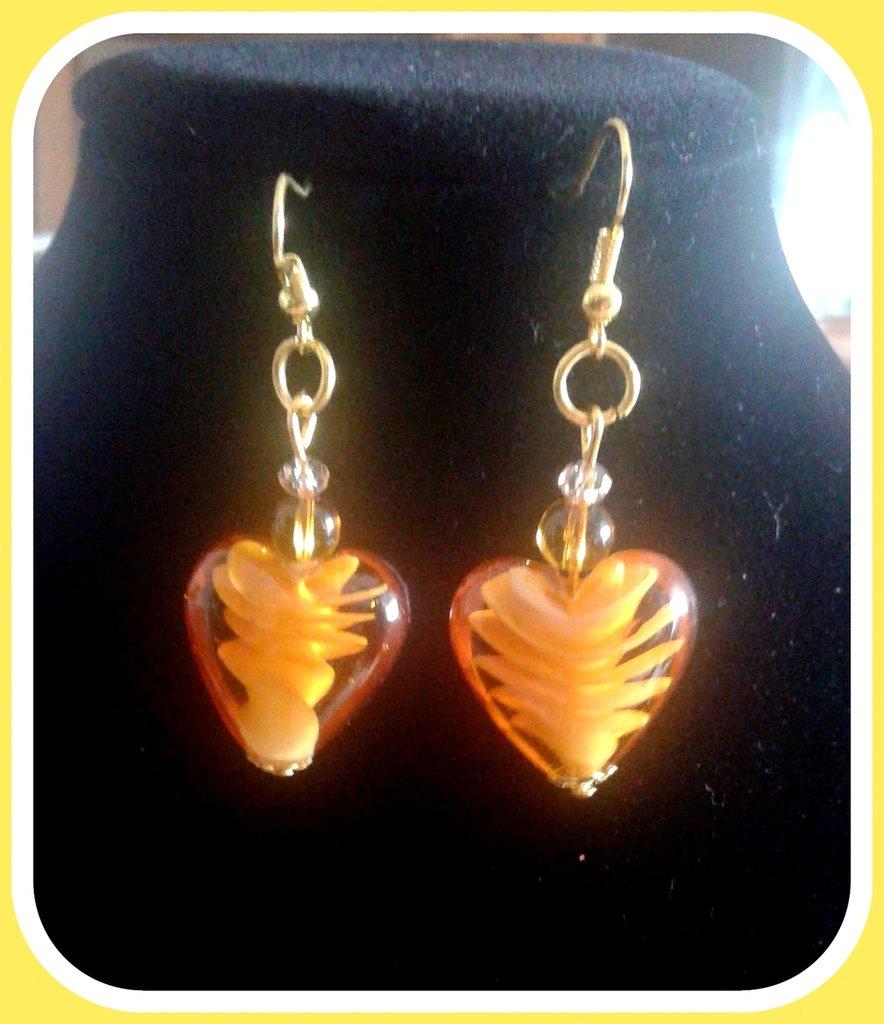 orecchini cuore ambra