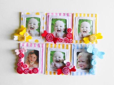 40 Bomboniere 'caramelle': deliziose cornici in feltro e cotone per dolci bambini, calamite per foto ricordo!