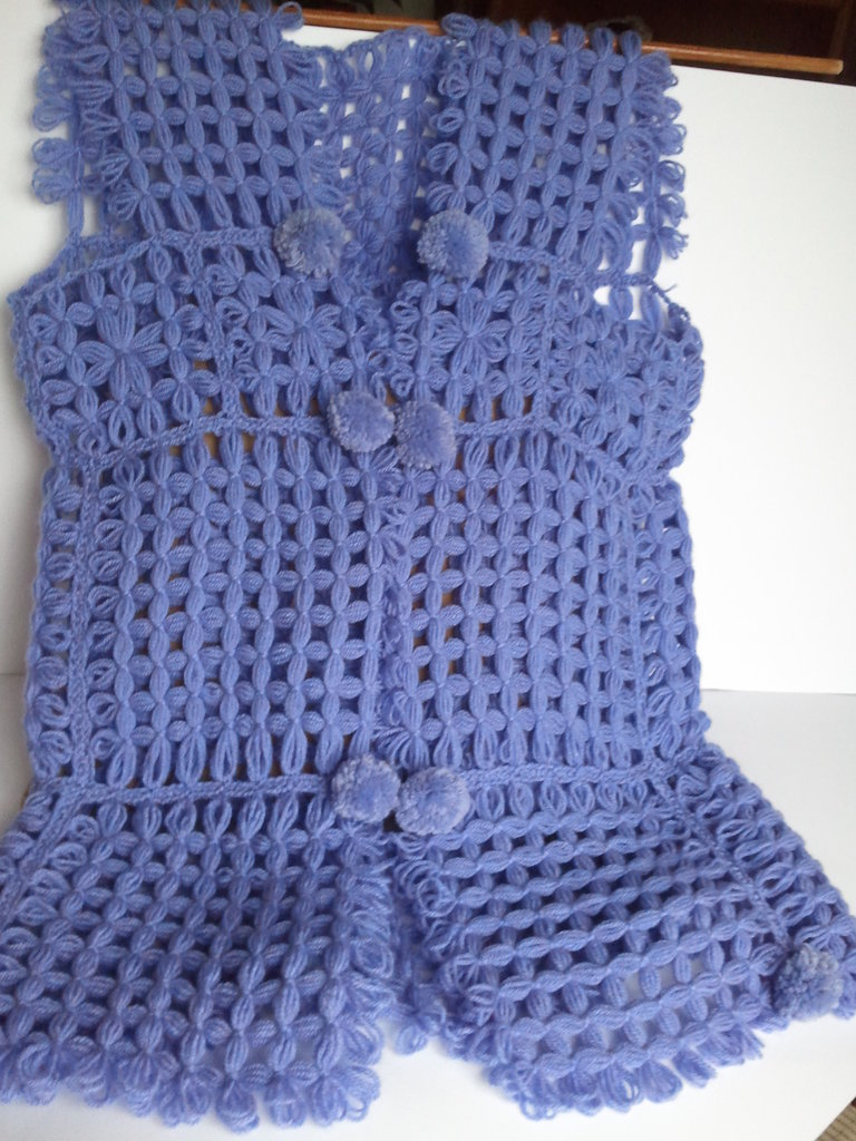 Gilet lungo in lana color Lilla