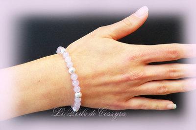 Bracciale giada color lavanda e perle diamantate