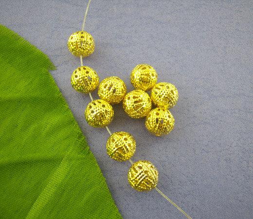 10 perle filigrana color oro 8 mm