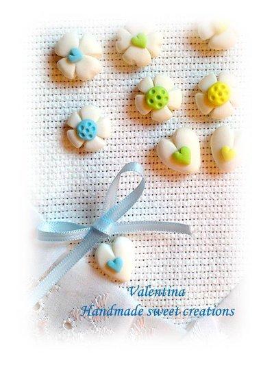 Chiudisacchetto, segnaposto fiore cuore quadrifoglio