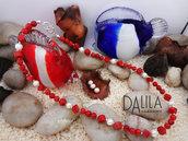 Collana corallo madrepora e perle naturali