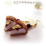 Orecchini cheesecake torta fetta fimo rosso dolci fatti a mano idea regalo