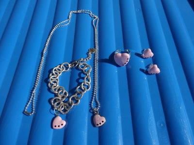 Parure collana, orecchini, bracciale e anello con cuore in fimo e swarovski