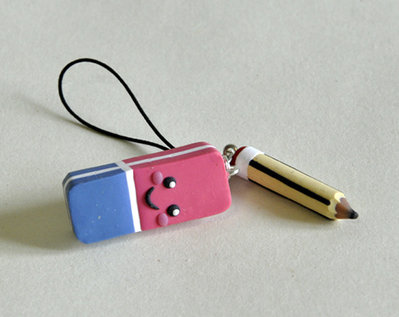 Phone Strap / Ciondolo Charm Gommina e Matita Kawaii - con stilo for cellulari e tablet capacitivi (anche iphone e ipad)