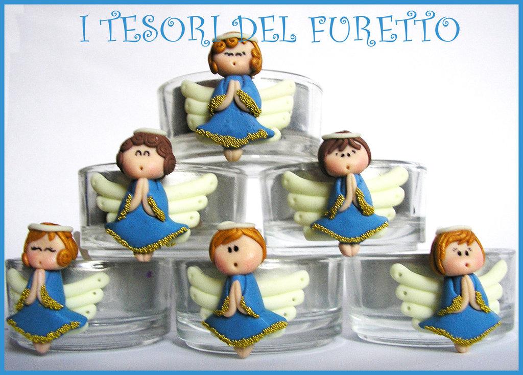 """12 Bomboniere """"FUFUFANGEL azzurro /blu"""" fimo cernit comunione cresima"""