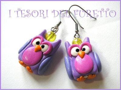 """Orecchini """"Gufo Civetta"""" viola lilla rosa, pastello kawaii idea ragalo"""